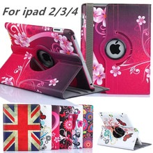 "9.7""for ipad 3 2 New Arrive 360 Rotating Flower Butterfly Flip Stand PU Leather Case Cover For Apple ipad 2 3 ipad 4 Tablet Case(China (Mainland))"