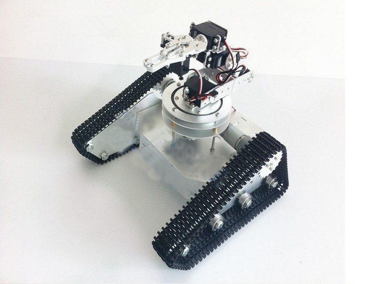 Obstacle-surmounting tank car chassis with 6dof robot arm/ high torque metal structuremetal mechanical claw/robot for DIY(China (Mainland))