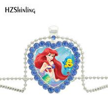 แฟชั่นการ์ตูน Little Mermaid Ariel Princess Heart เครื่องประดับคริสตัลสีแดงจี้สร้อยคอ Charm ของขวัญเด็ก(China)