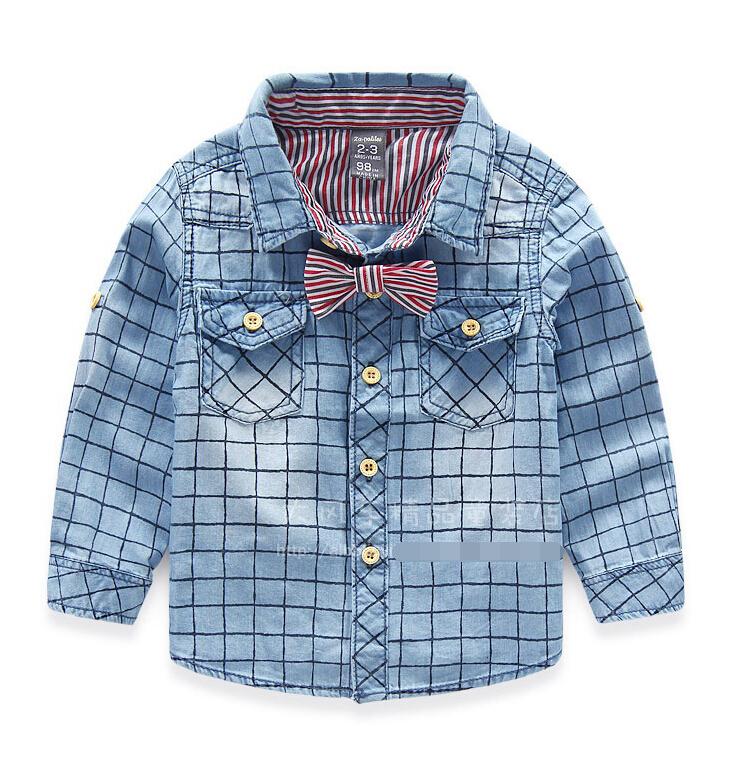 2016 New Striped tie British grid boy denim shirt children baby long sleeve shirts wholesale<br><br>Aliexpress