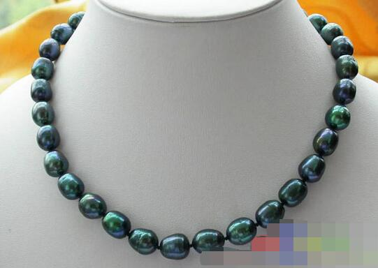 song voge gem nanJ1150 peacock BLACK RICE FRESHWATER PEARL NECKLACE(China (Mainland))