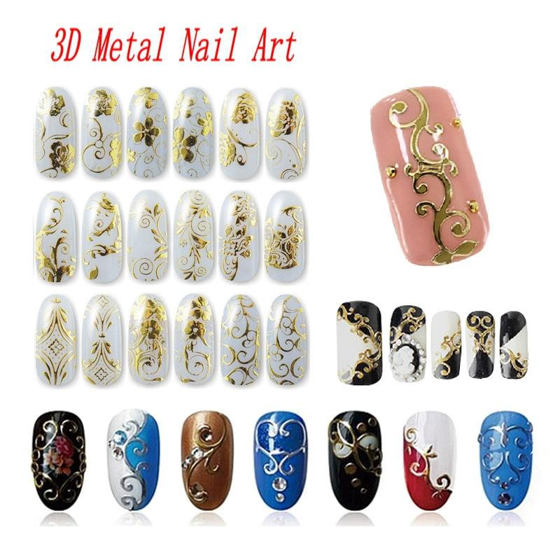 108 Pattern/Sheet Large Size Bronzing Stickers Paste Manicure Gold Silver Flowers Sticker & Decal 3D Nail Art Decorations JH125(China (Mainland))