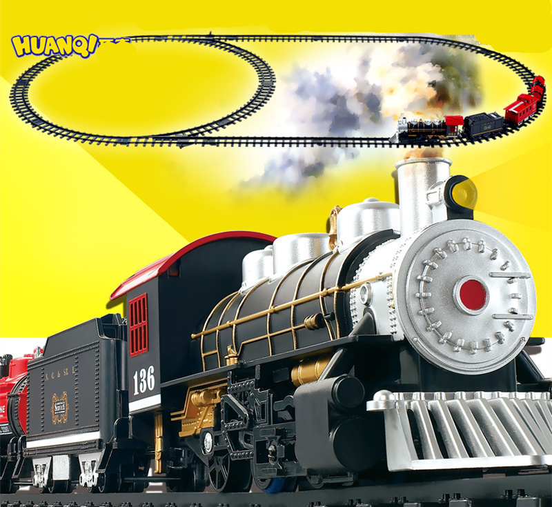 Christmas Santa Holiday classical Train with Sound, Light, and Real Smoke Train track toy model baby kids birthday gift(China (Mainland))