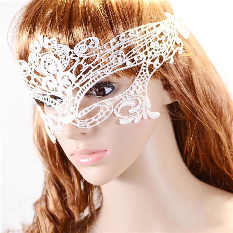 1PCS Face Mask White Sexy Lady Lace Mask Cutout Eye Mask Masquerade Masks For Masquerade Face Care(China (Mainland))