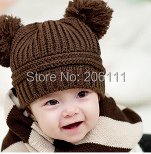 Sofiya Winter baby hat Fashion Korean Flash Drill Baby Hat Love Dual Ball Knitted Girls/Boys Wool Cap 5 colors free shipping(China (Mainland))