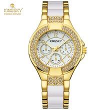 Fashion KINGSKY Woman Watches 2016 Brand Luxury Gold Watch relogio feminino Imitation diamond Jewelry Electronic Wristwatch(China (Mainland))