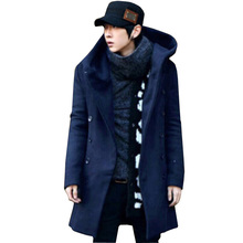 2015 New Famous Brand Slim Long Winter Fashion Thick Men Hooded Coat Windbreaker Men's Double-Breasted Cotton Woolen Coats(China (Mainland))