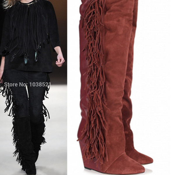 New Pointed Toe Suede/Leather Fringe Wedge Women Boots 2015 Spring Autumn Boots Knee High Botas High Heels Platform Shoes Woman