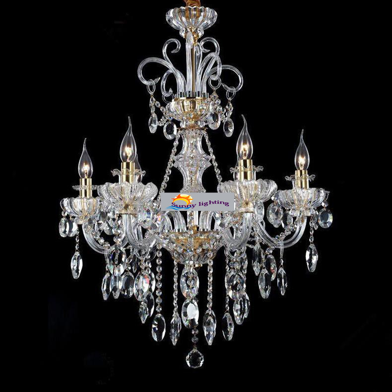 Luxury bedroom chandelier modern crystal chandelier 6 Crystal candle chandelier