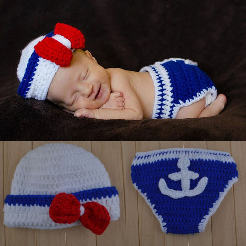 New Newborn Baby Crochet Photo Props Costume Hats Navy Caps Lovely Sailor Photography Suits Baby Knitted Hat+Shorts Set Beanies(China (Mainland))