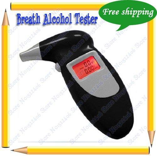 Free Shipping Digital Breath Alcohol Tester Keychain With Four Breath Inhaler Black
