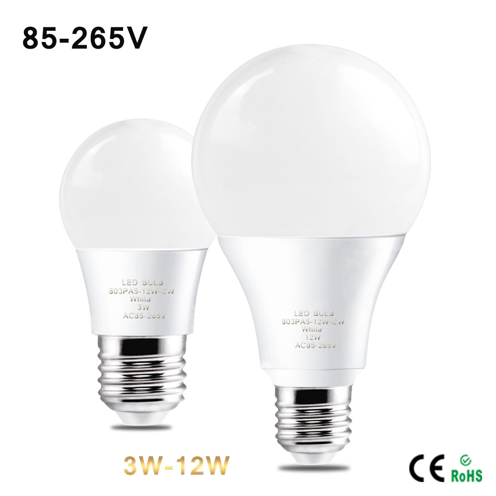 1Pcs Real Power Energy Saving E27 110V 220V 85V -265V 3W 5W 7W 9W 12W LED Lamp Aluminium Bubble Ball Bulbs For Bedroom Room(China (Mainland))