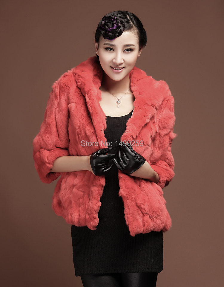 Free shipping/New arrival winter on sales/factory direct pricing/Fur coat/Genuine Rex Rabit Coat with hat/latest style/slim(China (Mainland))