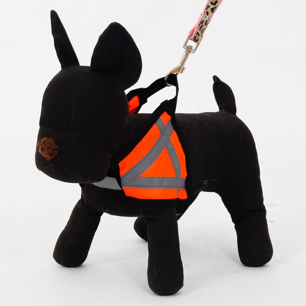 fashion design pet harness for safety reflective orange