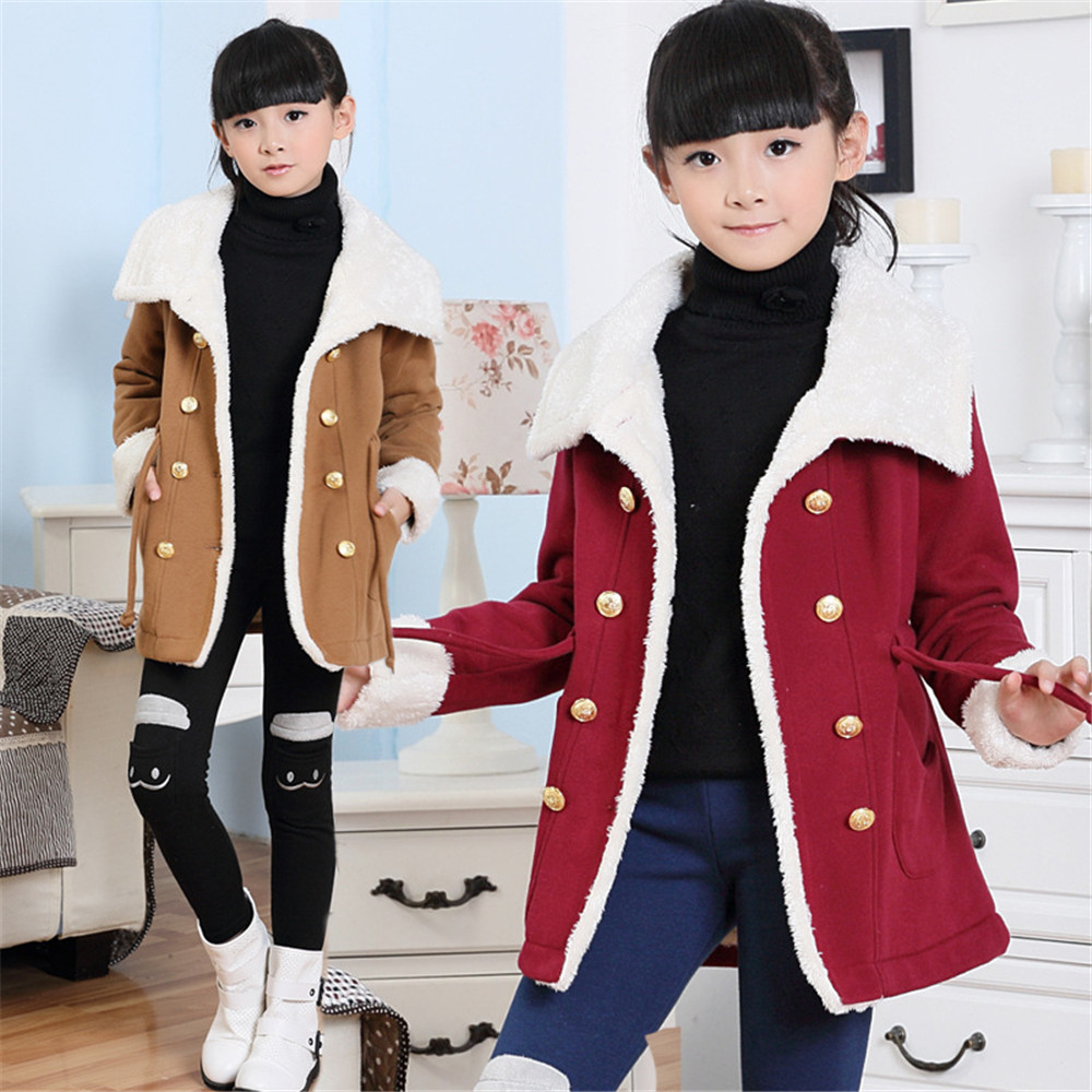 2015 New Girls Winter Cotton Fleece Coats &amp; Jackets Plus Thick Velvet Children Jacket Child Clothes Kids Wear Coats For Girl<br><br>Aliexpress