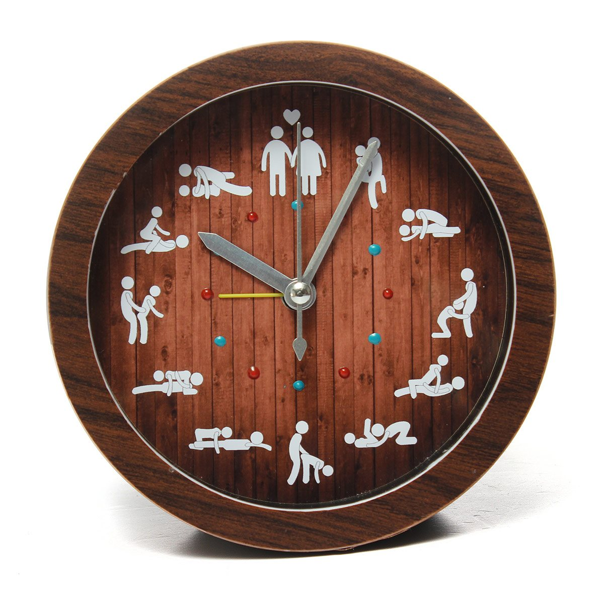 Hot Sale Cre-ative Wooden Color Sex Clock Table Circular Alarm 12 Sexy Positions Home Living Room Decoration(China (Mainland))