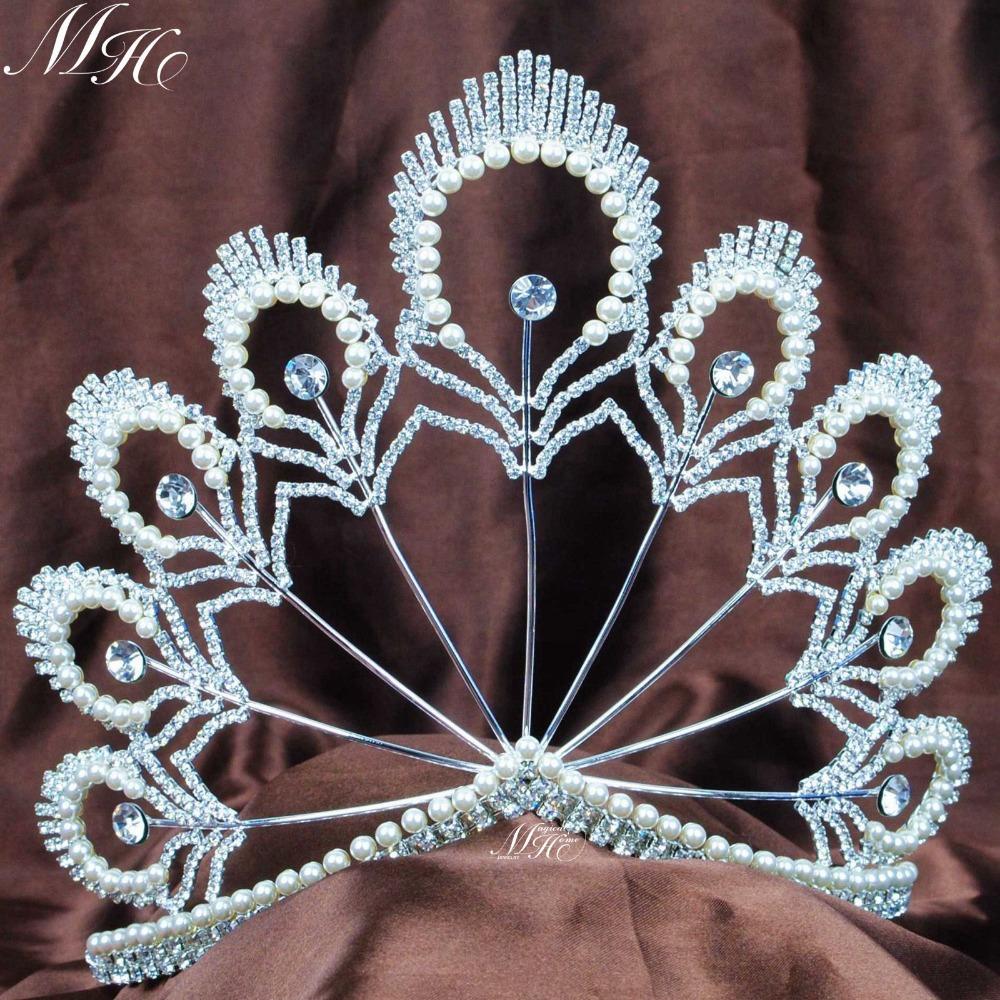 "Incredible Handmade Pearl Crystal Tiaras Wedding Bridal Diadem 5.5"" Large Hair Crowns Pageant Party Prom Headband(China (Mainland))"