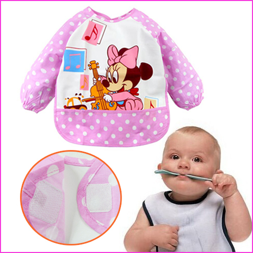 2015 High Quality New Cute Cartoon Children Baby Todder Waterproof Long Sleeve for baby self feeding Brand Art Smock Bib Apron(China (Mainland))
