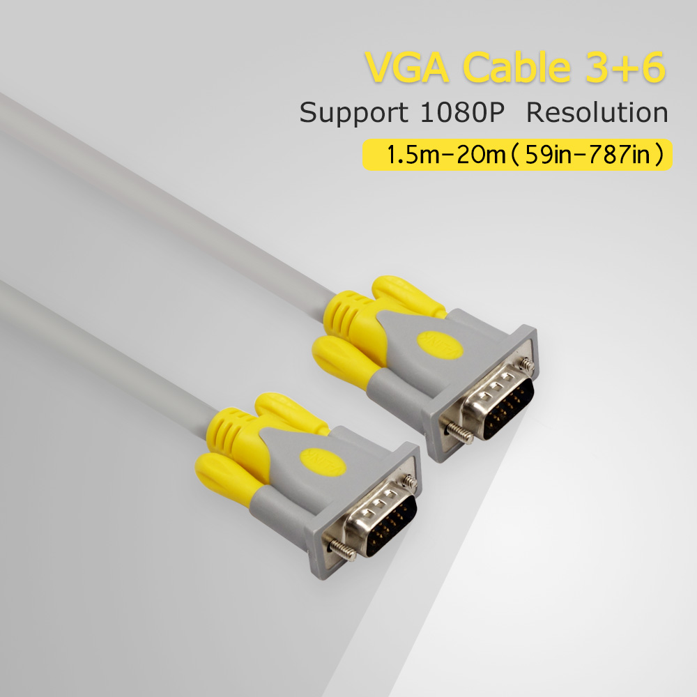 Hight Quality 3+6 1.5m 3m 5m VGA To VGA Cable Extension for 1080P HD TV PC Computer Monitor ultra-thin flat cable 15-pin(China (Mainland))