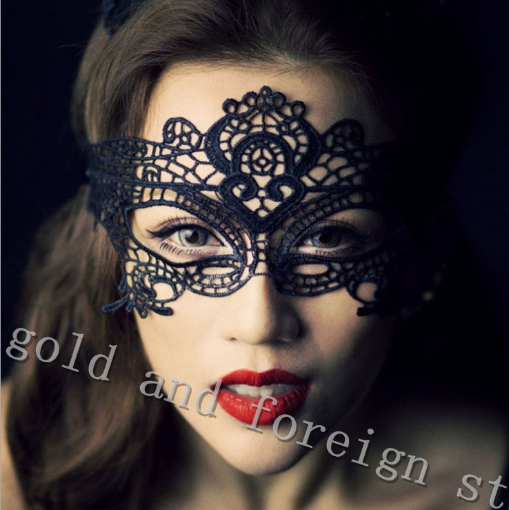 Exotic sexy lingerie hollow mask Fun play accessories sexy costume Halloween Party masks Sexy black lace goggles nightclub queen(China (Mainland))