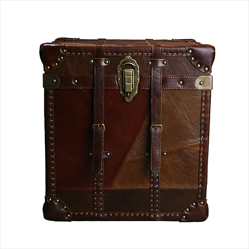 Old shanghai/vintage style furniture/cowhide splice/cowhide leather suitcase/containing box/cabinet(China (Mainland))