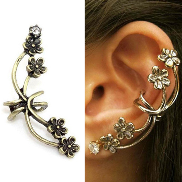 Hot Fashion Antique Flower Ear Cuff Earrings Classic Crystal Bronze Tone Punk M3AO(China (Mainland))