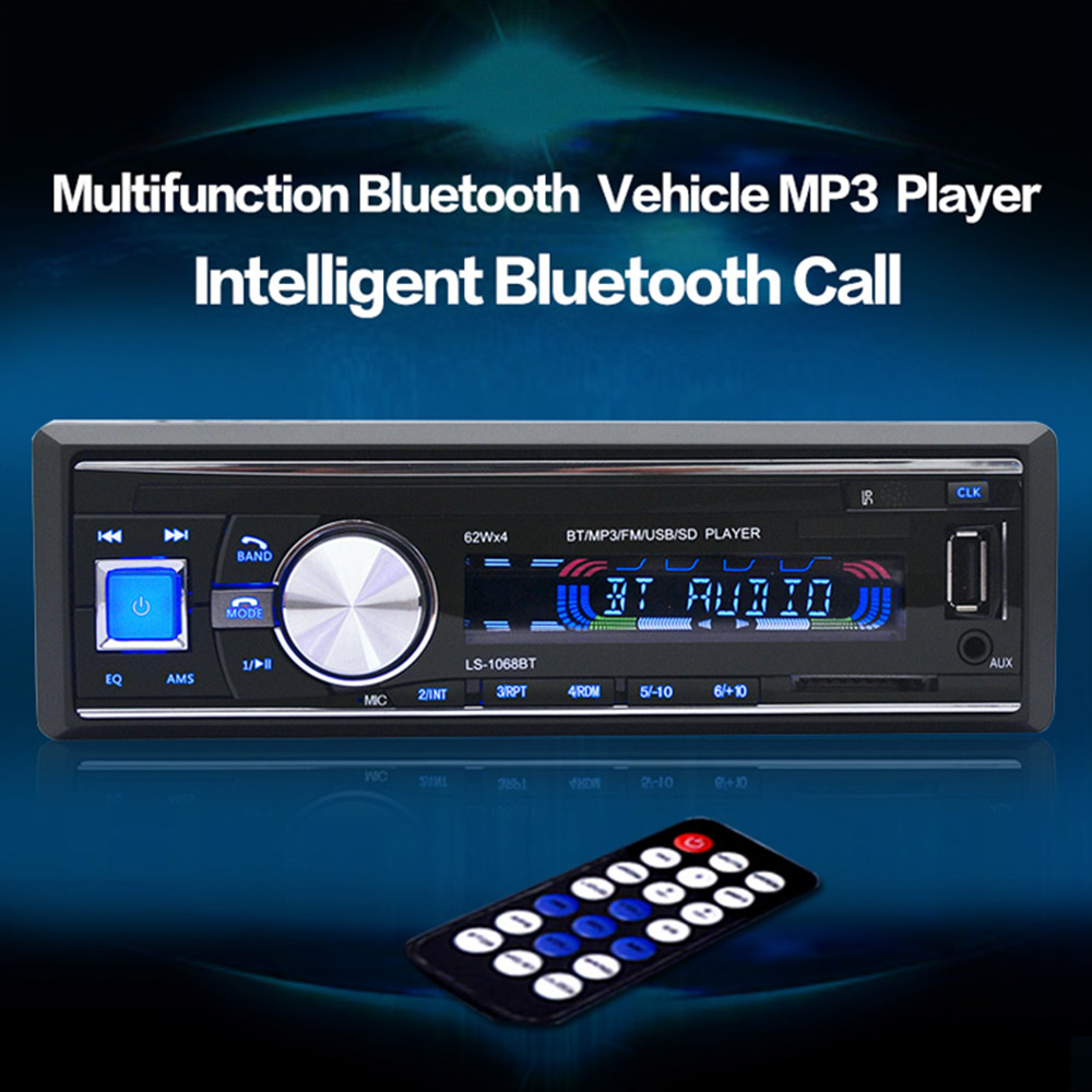 1068 Car Radio Stereo Player Bluetooth 1 Din AUX-IN MP3 FM / USB / Hands-free with Remote Control 12V Car Audio Car Electronics