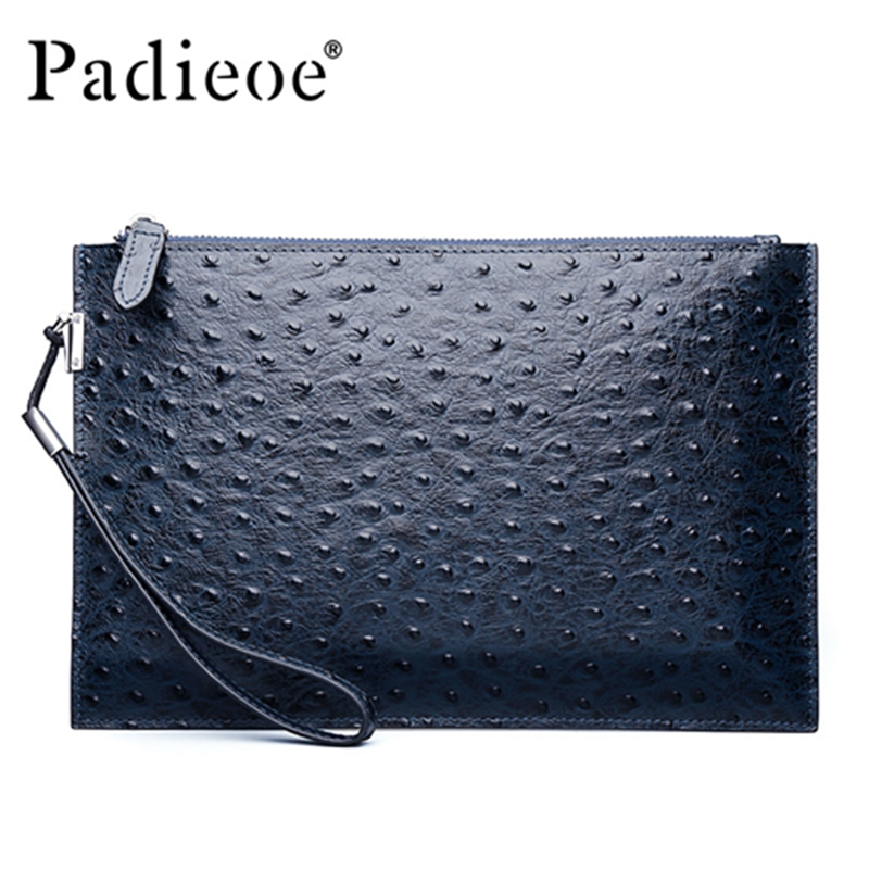 Luxury Genuine leather famous designer brand bags women leather handbags new fashion ostrich pattern men clutches(China (Mainland))