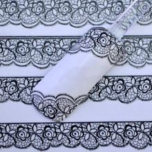 3D Black Lace Design Nail Art Stickers Flower Manicure Decals Tips Decoration