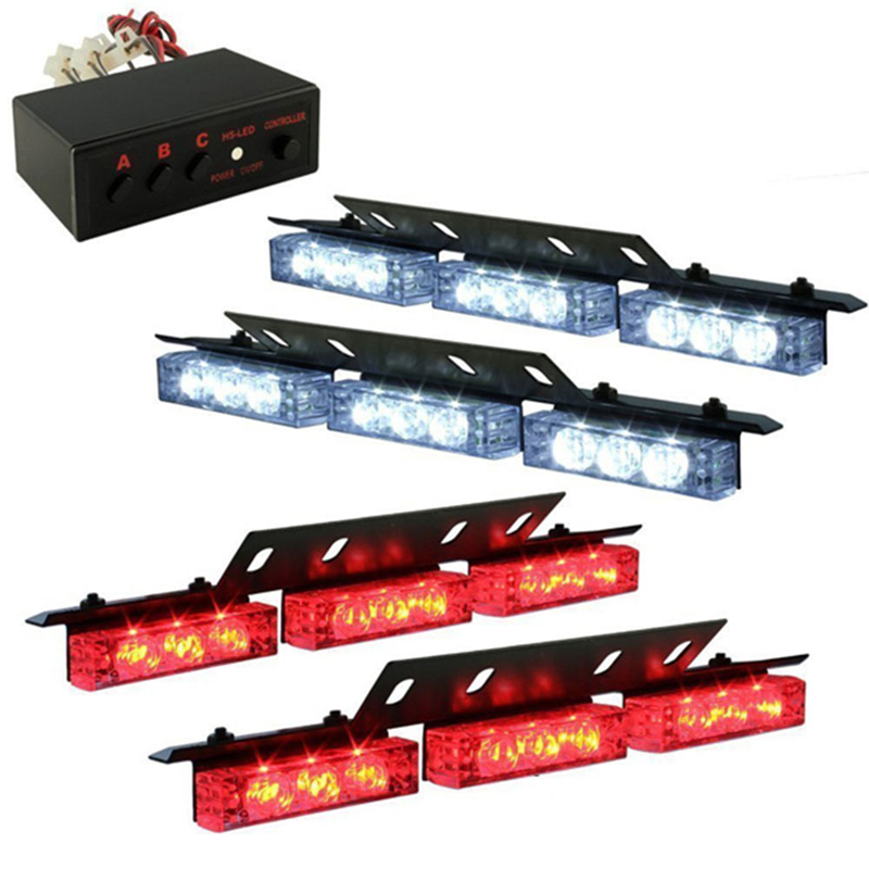 For All Cars Newest LED Light Car Truck Strobe Emergency Lights Deck Dash Grille Red White High Quality Strobe Warning Light(China (Mainland))