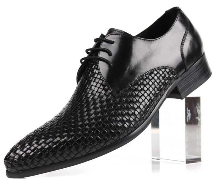 Top quality Woven Design fashion black /brown mens casual business shoes flats genuine leather dress shoes mens offce shoes(China (Mainland))