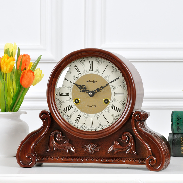 Maple wood clock bell mechanical movement, the whole point of home decor table clock chime clock New creative retro(China (Mainland))