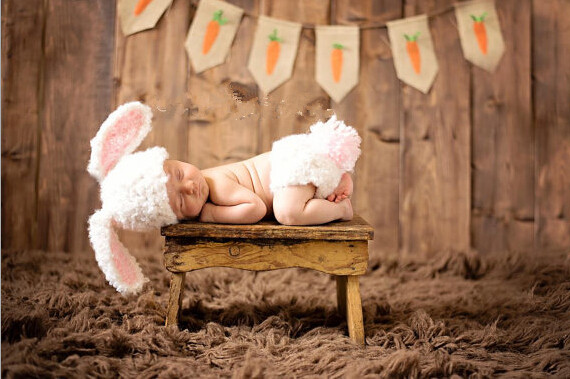 , Baby Knitted Clothing Rabbit Hat Diaper Cover baby sets Newborn Photography Hats Caps size:0-1m,3-4m - crochet hats store