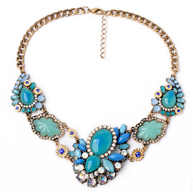 SBY0699 New Style Fashion Bohemian Color Gem Stone Necklaces Pendents accessories Women Jewelry(China (Mainland))