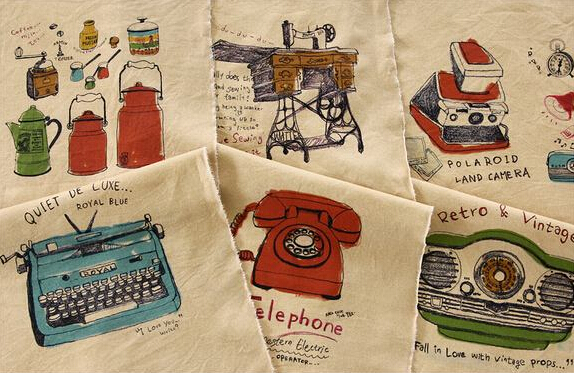 Vintage Retro Element Typewriter Telephone Recorder Illust Cut Cotton Linen Quilt Fabric Charm Sewing Handmade Textile, 88x140cm(China (Mainland))
