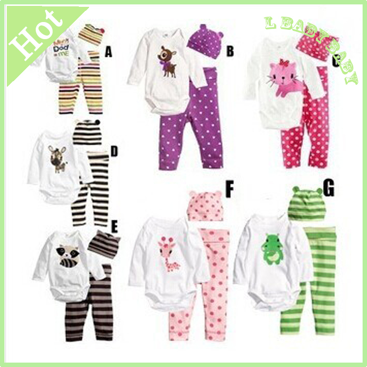 Baby boy fashion style 3pcs(Long-sleeved Romper+hat+pants)baby boy clothes 2015 new character clothing sets baby boy(China (Mainland))