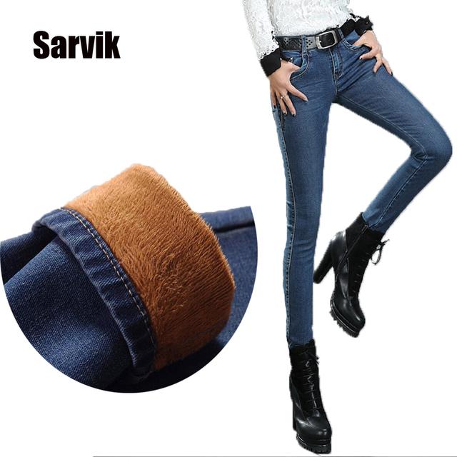 2015 зима новый толстый бархат узкие джинсы девушку завышенной талией Большой размер ...
