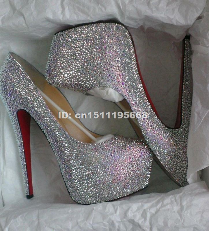 Silver Beaded High Heels