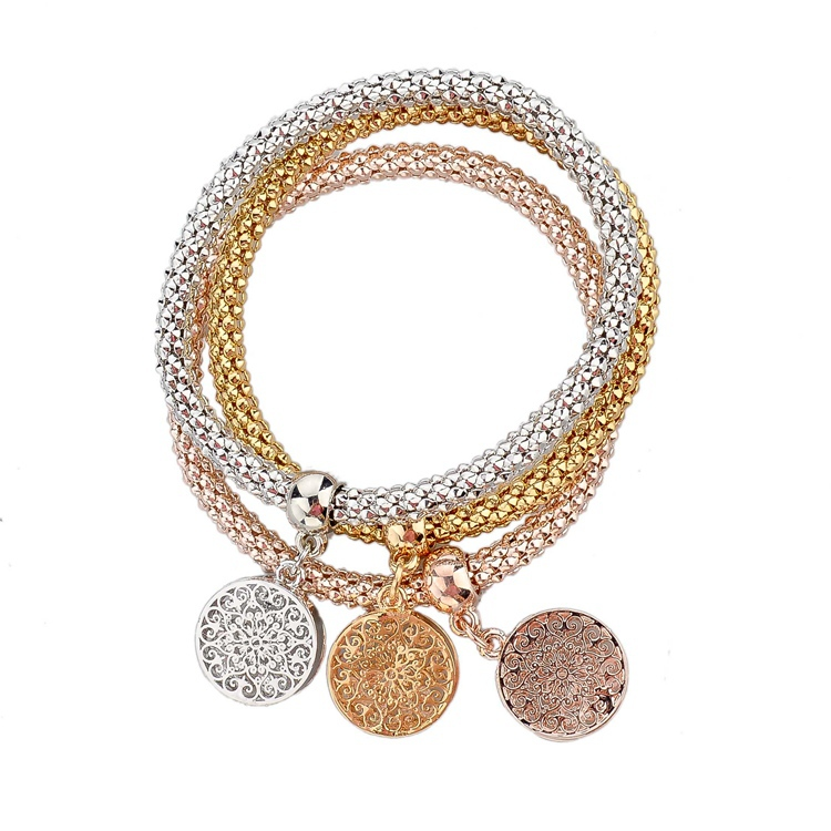 2015 New Fashion Bracelets Bangles Jewelry Gold Silver Chain Bracelet Round Hollow Charm Bracelets For Women SBR140339(China (Mainland))