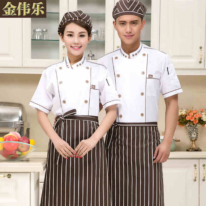 (10sets-Hat&Shirt&Apron) white Food Service cotton Unisex Double breasted food clothes short sleeve kitchen chef clothing(China (Mainland))