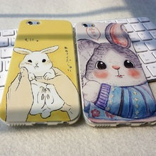 Lovely Cutie Cartoon Rabbit Phone Case For Apple iPhone6 6S/ 6Plus 6SP 4.7″ / 5.5″ Soft Silicon Transparent Phone Case Cover
