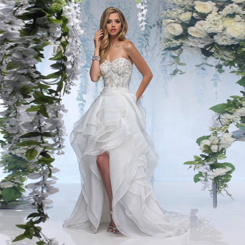2016 New Design Sweetheart Neck Off The Shoulder Short Front Long Back Wedding Dress With Beading Ruffles Organza Bride Dress(China (Mainland))