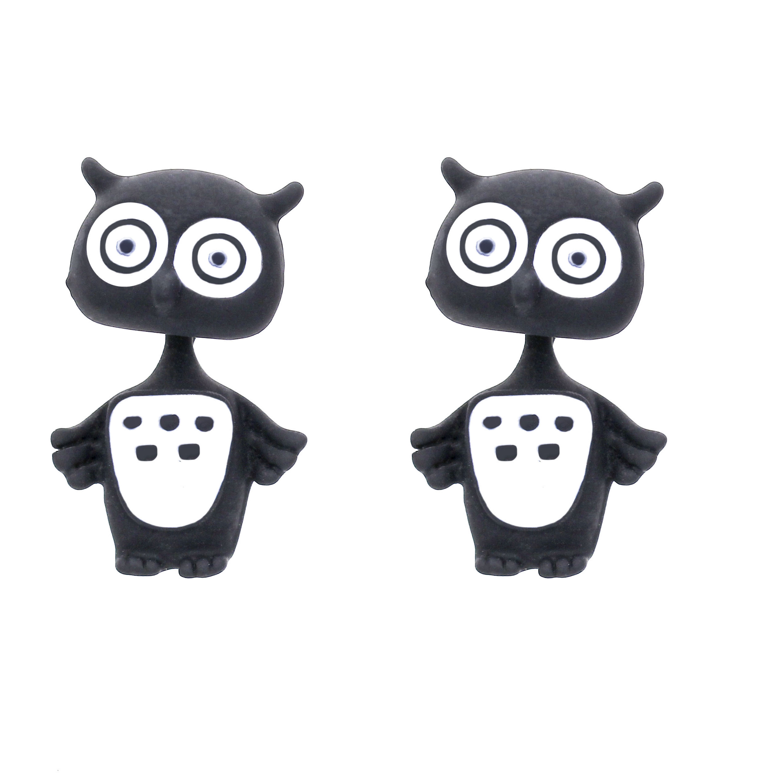 Sunshine New Multiple Color Polymer Clay 3D Owl Stud Earrings For Women Gifts Kawaii animal earrings Animal Piercing Jewelry(China (Mainland))