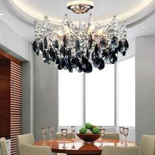 Hot Sale Black Crystal Chandelier Modern Fashion Living Room Lighting ,restaurant Fixture,diameter 40cm,e14*6,220 Voltage forDHL(China (Mainland))