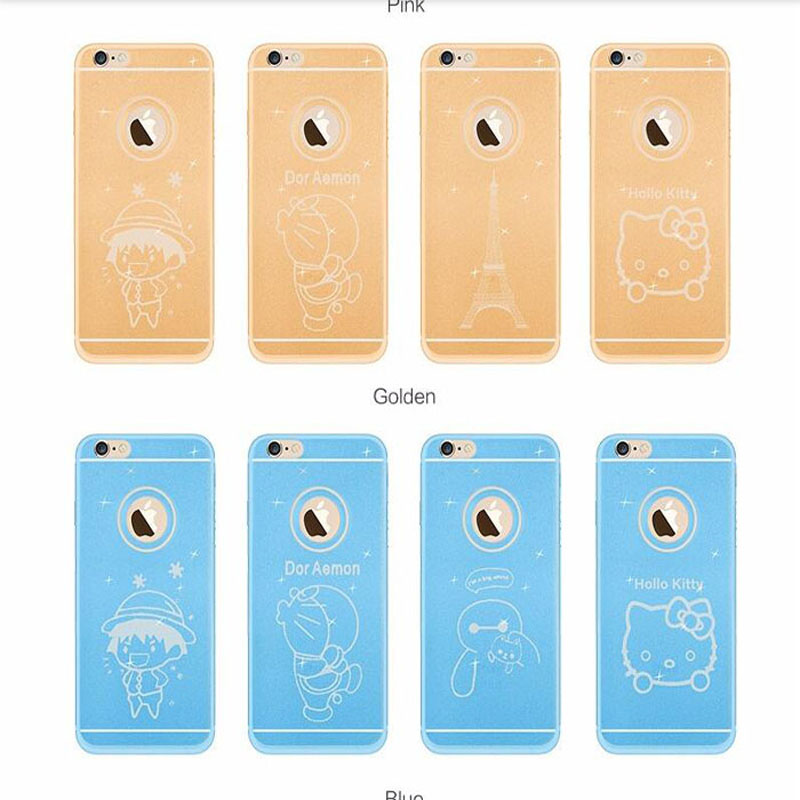 Ultra Thin Bling Silicone Crystal Glitter TPU Soft Cartoon Transparent Mobile Case Phone Back Cover For Apple Iphone 5/5S/6/6S(China (Mainland))