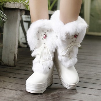 HOT 2015 winter recreation rhinestone PU really comfortable and warm rabbit fur lace-up breathable round toe flat women boots