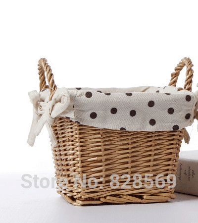 HI-quality rattan basket vase silk flowers artificial flower home decoration Storage Baskets cane makes up the storage basket(China (Mainland))