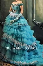 Medieval Renaissance gown Sissi princess dress light blue multi ruffles Victorian Gothic/Marie Antoinette/Colonial Belle Ball