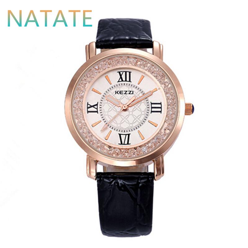NATATE Women Quartz Kezzi Brand Diamond Business Wristwatches waterproof Leather Strap Watches Ladies Designer Watch 0840(China (Mainland))