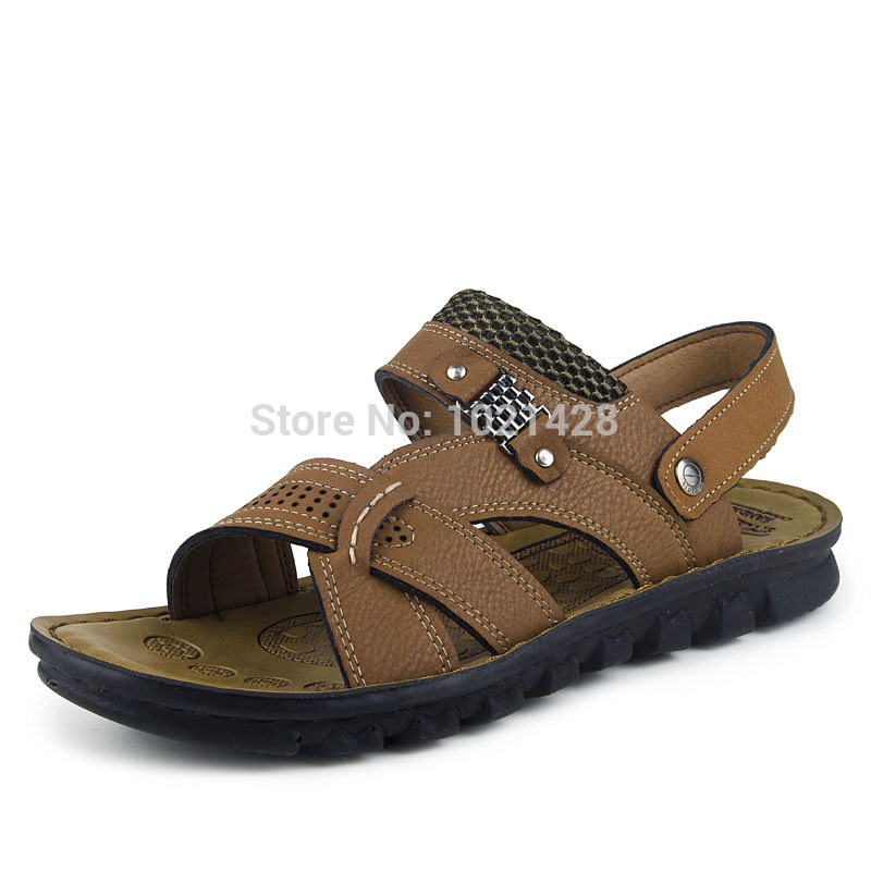wholesale mens leather sandals summer cool shoes fashion